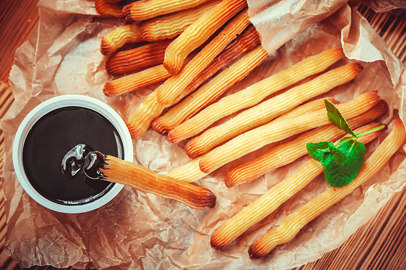 Churros with hot chocolate, a favourite winter treat